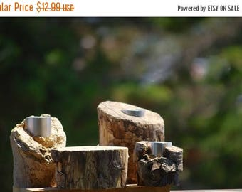 Back To School Sale SET of 4 Rustic Driftwood Candle Holder Branches Nautical Beach Decor Tealight Tree branch wooden wood woodland lodge ca