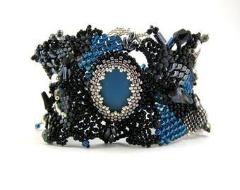 Black and blue bracelet, Black beaded bracelet, Gift for women, Black jewelry, Beaded Cuff bracelet, Boho bracelet