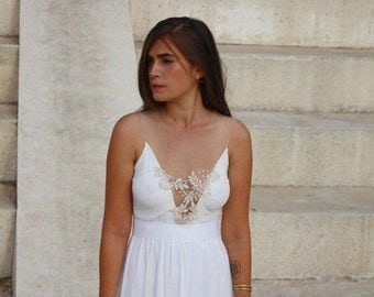 Wedding dress deep  V neck  with embroidery and beads