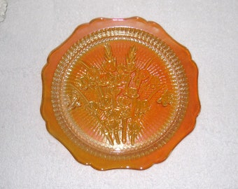 Iris and Herringbone Set of Four 9 Inch Plates, Jeanette Glass Co., Marigold Iridescent Carnival Glass, Scalloped Edge