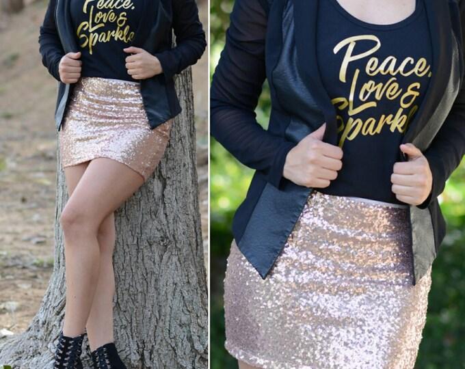 Free Shipping! Blush Mini Sequin Skirt - Stretchy, beautiful mini skirt (Small, Medium, Large, XLarge) Made in LA! Ships asap!