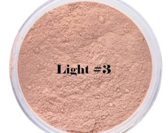 LIGHT #3 FOUNDATION Organic Minerals Light to light medium Beauty Cosmetics Vegan Gluten Free, green tea, jojoba oil, vitamin E