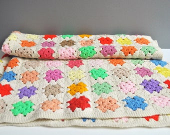 Vintage Colorful Granny Square Afghan