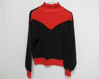 vintage 60s Ski Thermal mock neck waffle Shirt long sleeve black red layers retro skiing Pilgrim Sears S/M sweatshirt warm winter wear