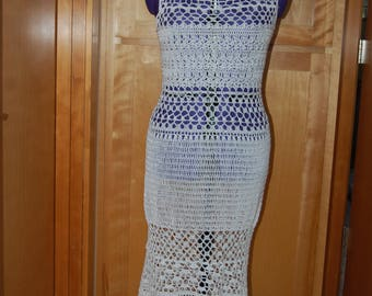 "Crochet Summer Dress White Cotton 33- 35"" bust 37-40"" hips 45"" long"
