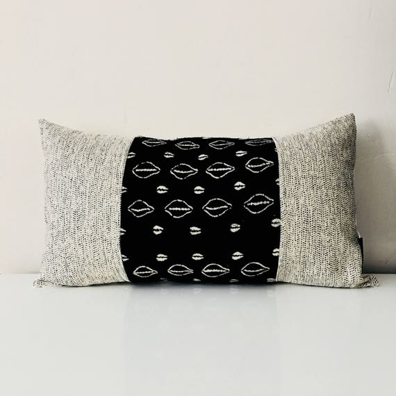 "Black Boho Tribal Pillow Cover 14""x24"" Lumbar Cushion Pillow Ethnic Bohemian African Mudcloth Natural Herringbone Gray Cream Wool"