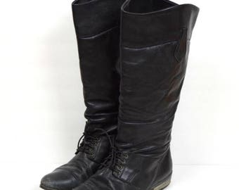 Summer Sale Vintage L.L. Bean black laceup tall slouchy leather riding boots