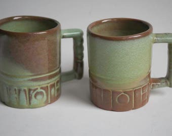 A lot of two Frankoma vintage mugs prairie green