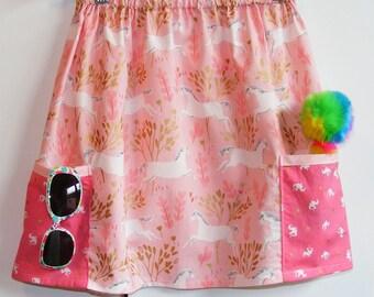 Pink Metallic  Unicorn  2 pocket skirt  (2T, 3T, 4T, 5T, 6, 7, 8, 10)