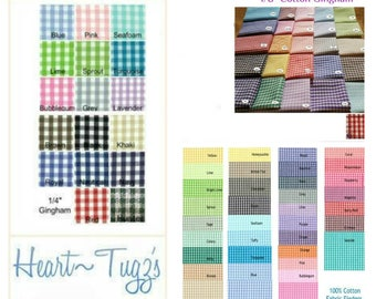 """Gingham Remnants in 1/16"""" 1/8"""" or 1/4"""" Fabric Gingham Fabric"""