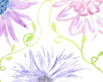 Floral Watercolor Card Hand-Painted Flower Card Original Watercolor Card Purple Indigo Pink Violet-Blue With Bright Green Vines Pretty Card