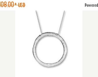 ON SALE CIRCLE Of Life Pendant Necklace Sterling Silver, Hand Sculpted, Circle Necklace, Circle Pendant, Sterling Silver Necklace