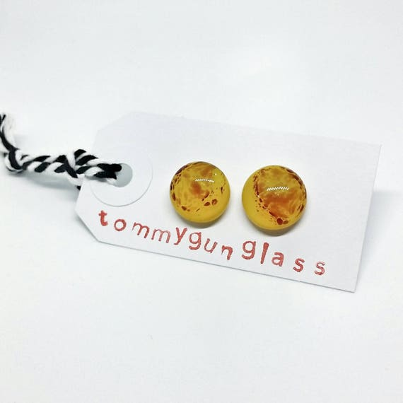 Yellow with Red Specks Glass Stud Earrings