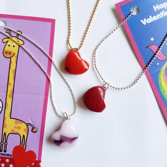 Bright Red Glass Valentine Heart Necklace