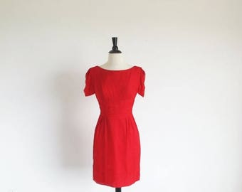 1/2 Off SALE Vintage 60s Red Short Silk Chiffon Cocktail Party Holiday Dress