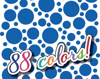 Wall Safe Vinyl Polka Dots 100 Pack and More Circles Removable Gentian Blue Nursery Crib Kids Kid Childs Bedroom Room