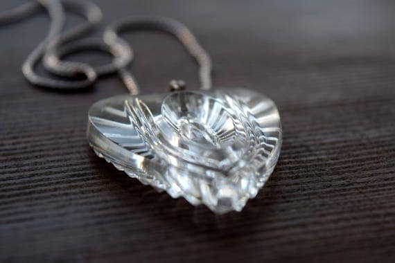 Vintage Clear Glass Heart Necklace ~ Heart Chakra