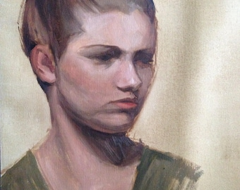 """Portrait sketch of a young woman - original oil painting from life 12x18"""""""