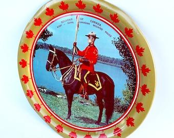 Vintage Royal Canadian Mounted Police Souvenir Metal Tray