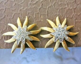 Vintage Clip on Earrings Vintage Earrings Bridal Earrings Gold Flower Earrings Rhinestone Earrings Bridal Wedding Jewelry Statement Earrings