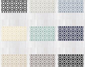 Geometric Trellis Print Rug, Area Rug, 9 Pastel Color Options, Lattice, Modern, Minimalist, Moroccan, Black White Grey Ecru, arabic style