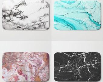 Black White Marble Bath Mat, Memory Foam, Bright Colorful Black White Blue Pink Neutral Mauve Rust Grey Purple Turquoise Teal Stone Texture