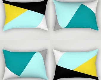 NORDIC Color Block Pillow, Rectangular breakfast cushion, Black Yellow Aqua Teal Blue White Anthracite Grey Abstract Geometric Pattern