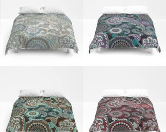 Paisley Mandala Duvet Cover or Comforter, Bed Cover, Bedspread, white beige black rust brown purple red teal turquoise duck egg blue grey