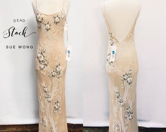 STUNNING deadstock vintage Sue Wong champagne beaded evening dress - designer mermaid hourglass ivory beaded wedding dress - medium