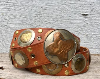 Leather and Brass Moroccan style Belt