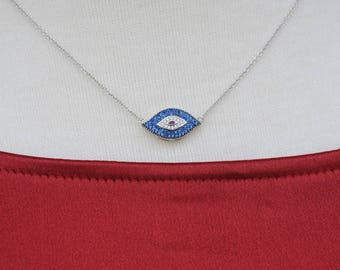 Evil Eye Necklace/Pendant, CZ evil eye, Gift for her, Good Luck charm, Silver and CZ evil eye necklace, Holiday Gift