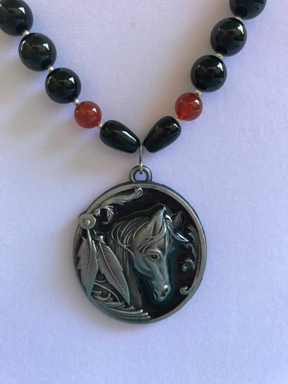 Onyx, Carnelian, Howlite, and Carved Bison Bone Necklace