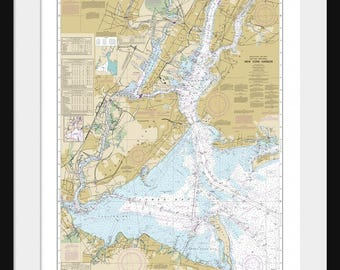 New York Harbor Map - Nautical Map - Nautical Chart - Map Art - Print - Poster