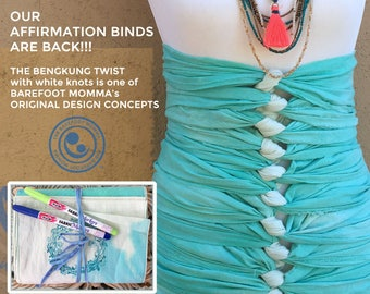 """Postpartum Bengkung Affirmation Twist,  fray edge, 8""""x17 yds, stamped, write on tail, 2 fabric markers, blessing way, baby shower activity"""