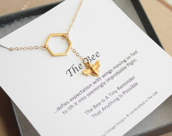 Gold Bee and Honeycomb Necklace