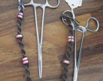 Hand Made Macrame Concert Clips/Hemostats w/ Lazar Cut Beads......dk. brown......OOAK....Original Design....