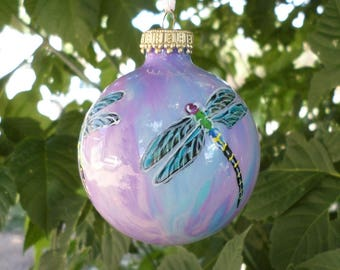 Blue Purple Hand painted Christmas ornament, dragonfly ornament, pastel colors # 401