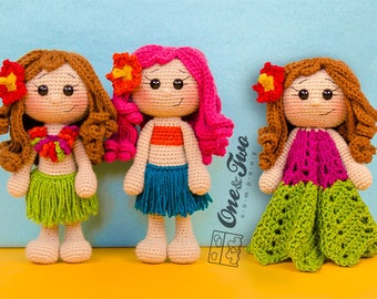 Combo Pack - Mya the Hawaiian Girl Lovey and Amigurumi Set for 7.99 Dollars - PDF Crochet Pattern Instant Download