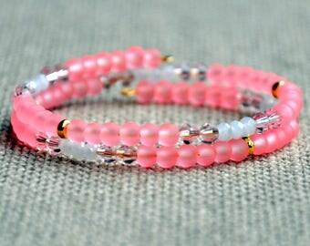 Flamingo Sparkle Dainty Wrap Bracelet