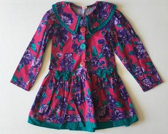 1980's Floral Drop Waist Dress (6x)