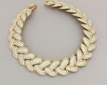 Statement Rhinestone Bridal Necklace - Clear Rhinestone Collar Necklace - Wedding Jewelry - Gold Tone - Bridal Jewelry Carolee Necklace