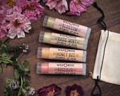 Lip Balm Gift Set GARDEN Honey Bee Rosebud Blossom Basil Mint - stocking stuffer