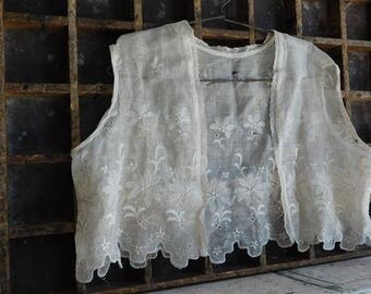 Antique Girls Vest, White Lacey Cotton Clothing, Victorian, Edwardian