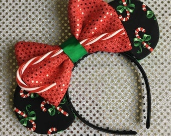 Candy Cane Mouse Ears - candy cane mickey ears, christmas mouse ears, christmas mickey ears