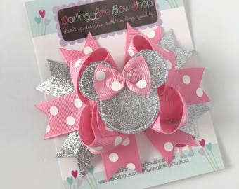 Miss Mouse Bow - Pink and Silver Miss Mouse Bow - Darling Little Bow Shop