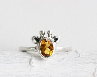 Yellow Giraffe Ring, Citrine and Sterling Silver, MADE TO ORDER, Giraffe Fine Jewelry