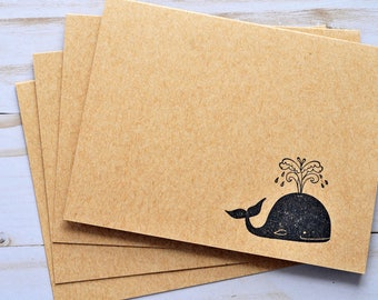 Whale Note Cards // Set of 4 // Blank Cards // Stationary Set // Thank You Cards // Love Letter // Just Because // Thinking of You