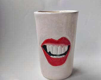 Sassy handmade mouth tumbler conversation cup kitchenware, home kitchen, bathroom, office decor, pencil, drink, wine, coffee, tea holder