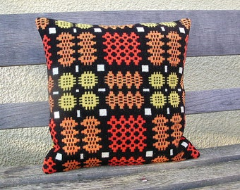 Welsh blanket cushion 18 in square black orange yellow wool