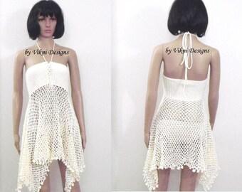 Crochet Three Ways Dress Shirt, Fishnet Dress, Crochet Skirt, Crochet Poncho by Vikni Designs
